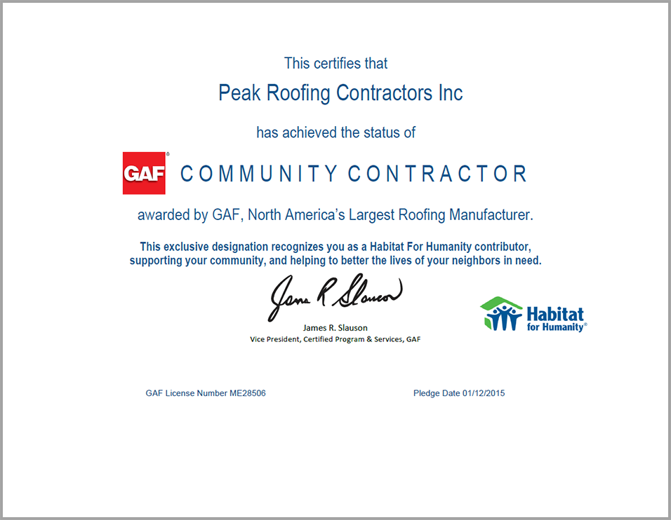 Habitat for Humanity Certificate 2015