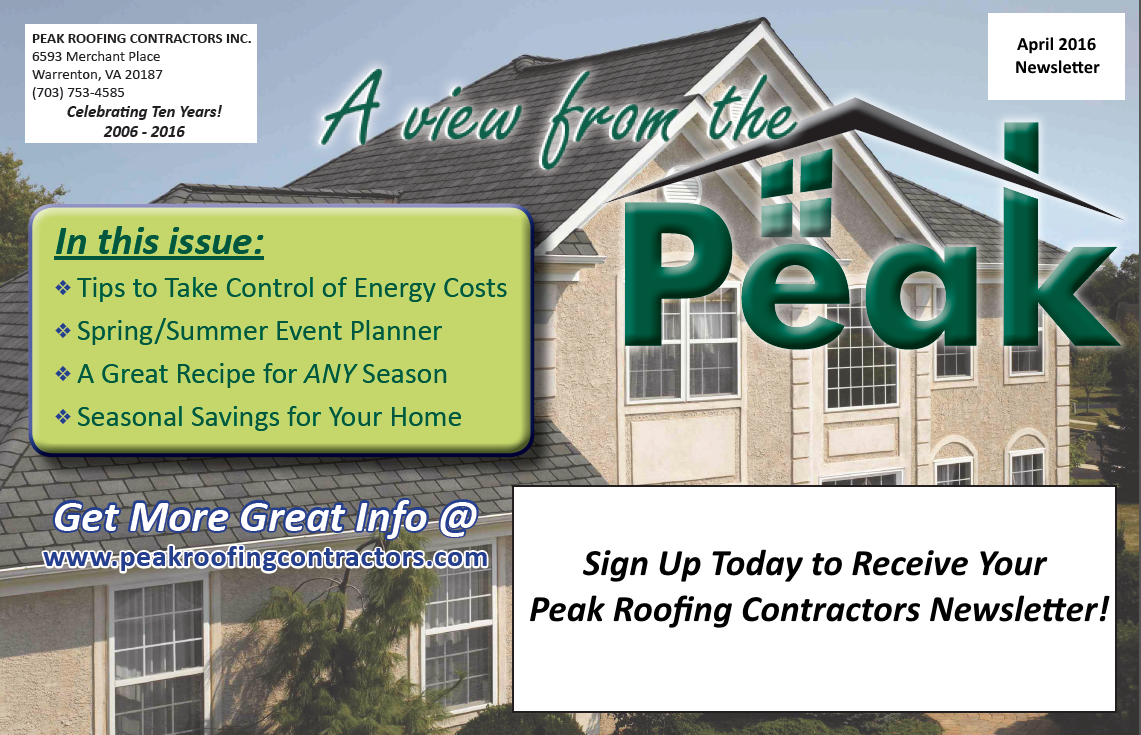 Newsletter Peak Roofing Contractors