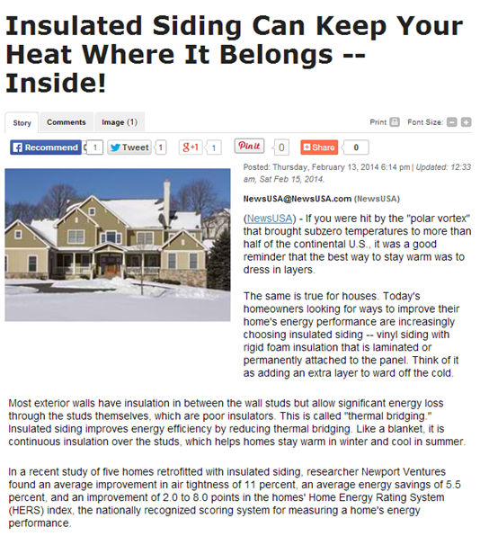 Insulated Siding Can Keep Your Heat Where It Belongs --Inside! Image
